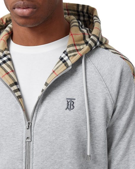 Image 3 of 5: Burberry Men's Kurke Hoodie Sweatshirt w/ Vintage Check Trim