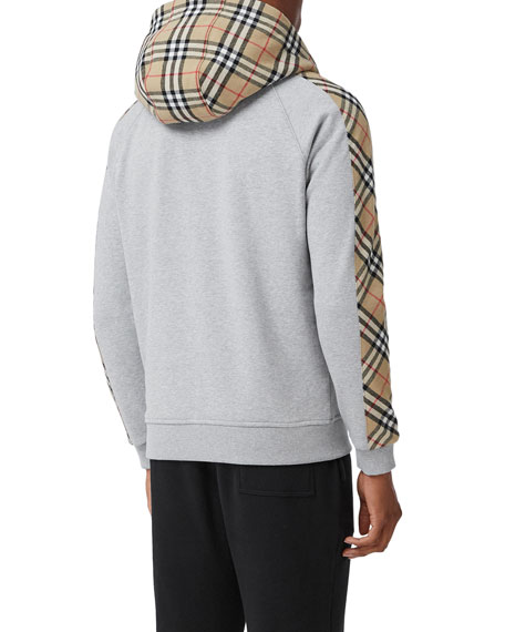 Image 4 of 5: Burberry Men's Kurke Hoodie Sweatshirt w/ Vintage Check Trim