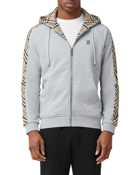 Image 1 of 5: Burberry Men's Kurke Hoodie Sweatshirt w/ Vintage Check Trim