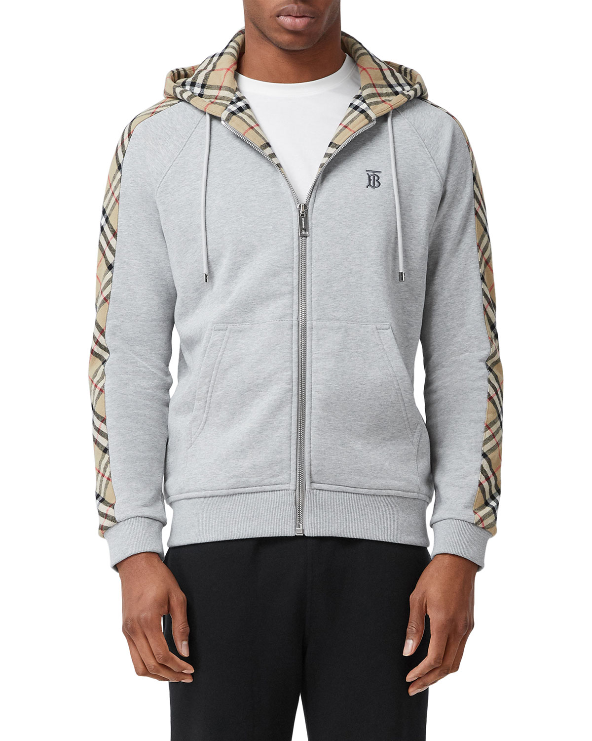 Burberry Men's Kurke Hoodie Sweatshirt w/ Vintage Check Trim