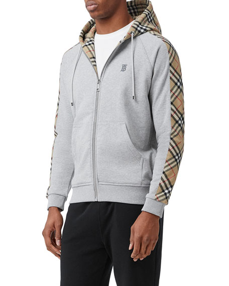 Image 5 of 5: Burberry Men's Kurke Hoodie Sweatshirt w/ Vintage Check Trim