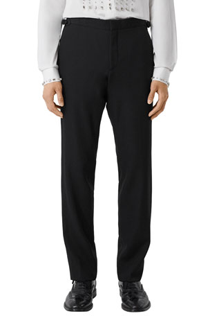 Burberry Men's Solid Wool Tuxedo Pants