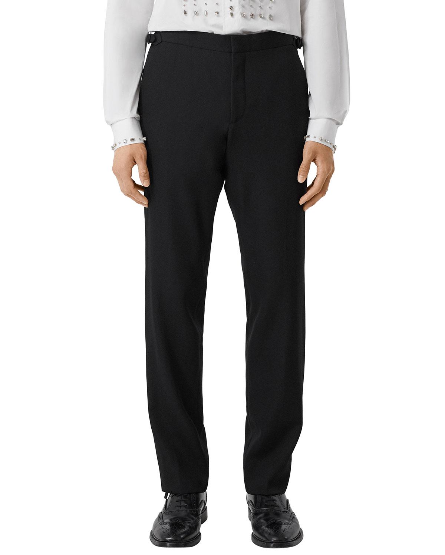 Burberry Men's Solid Wool Tuxedo Pants in Black