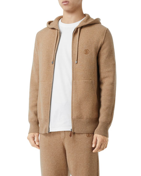 Image 3 of 5: Burberry Men's Lindley Cashmere Zip-Front Hoodie