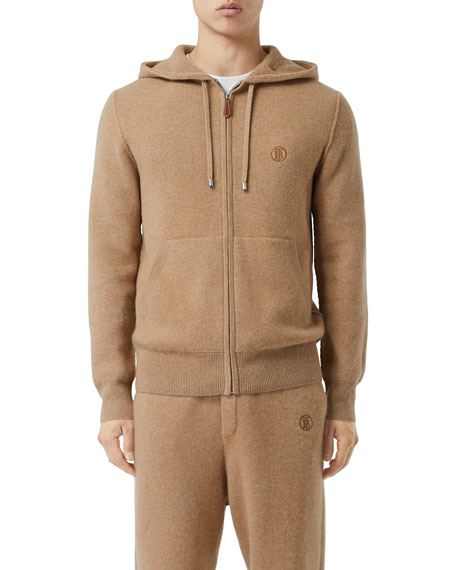 Image 1 of 5: Burberry Men's Lindley Cashmere Zip-Front Hoodie