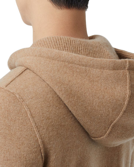 Image 5 of 5: Burberry Men's Lindley Cashmere Zip-Front Hoodie