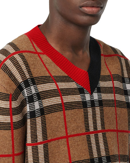 Burberry Men's Signature Check V-Neck Sweater
