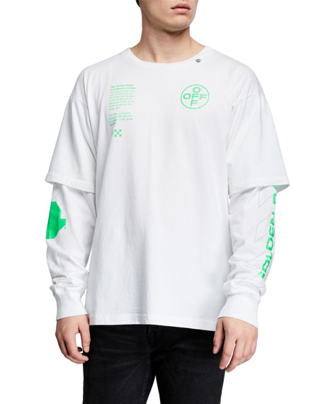 Off-White Men's Arch Shapes Long-Sleeves Graphic T-Shirt