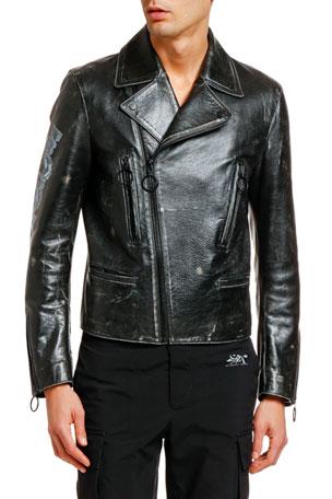 Off-White Men's Arrow Vintage Leather Biker Jacket