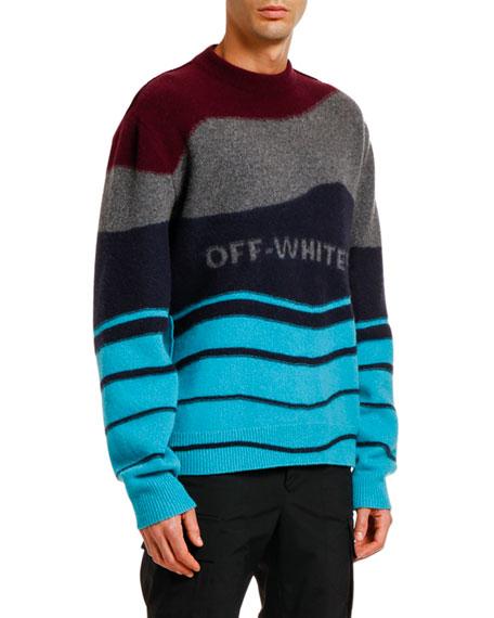 Off-White Men's Intarsia Felted Crewneck Sweater
