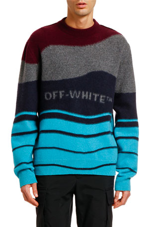 Off-White Men's Intarsia Felted Crewneck Sweater