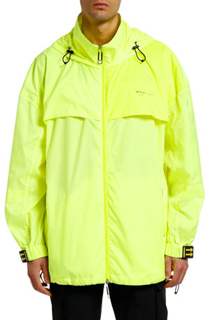 Off-White Men's Wind-Resistant Hooded Jacket