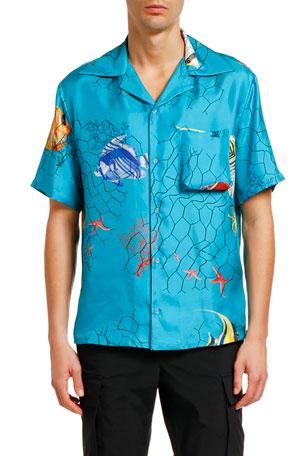 Off-White Men's Fishnet Holiday Silk Short-Sleeve Sport Shirt
