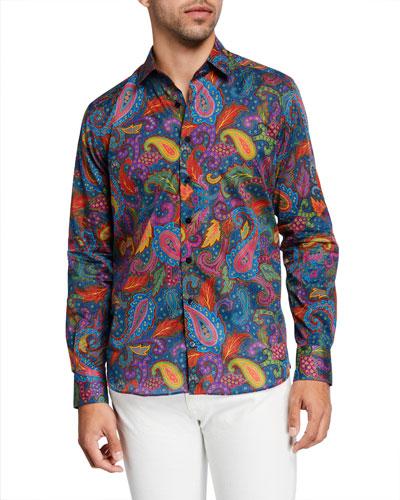 Men's Vibrant Paisley Party Sport Shirt