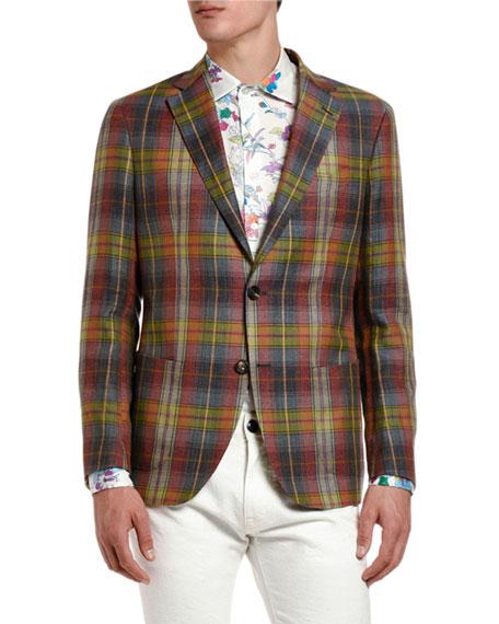 Etro Men's Plaid Linen-Cotton Sport Coat