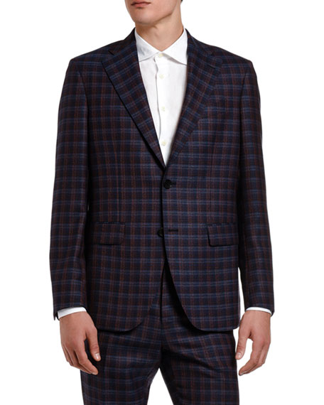 Etro Jackets Men's Plaid Wool Suit Jacket