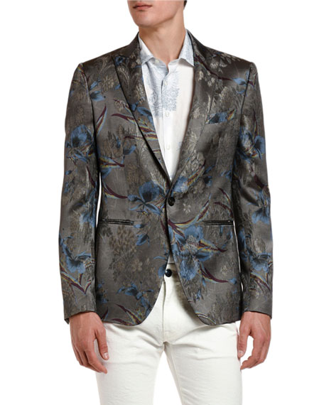 Etro Men's Palm Tree Metallic Dinner Jacket