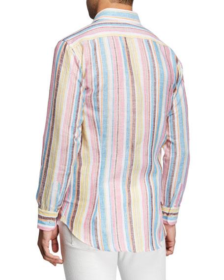 Etro Men's Vertical-Stripe Linen Sport Shirt
