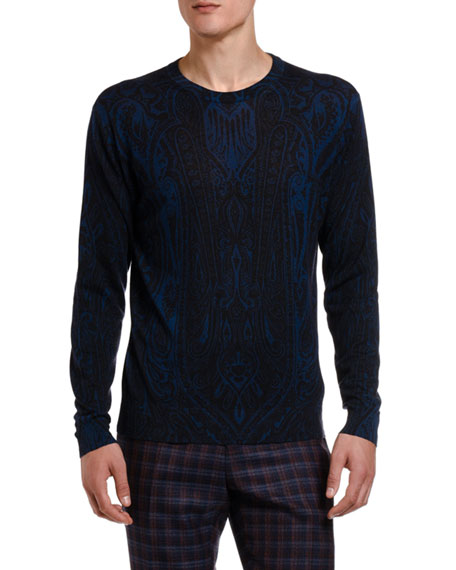 Etro Men's Dark Paisley Crewneck Sweater