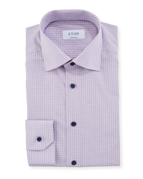 Image 1 of 2: Eton Men's Contemporary Plaid Dress Shirt With Piping