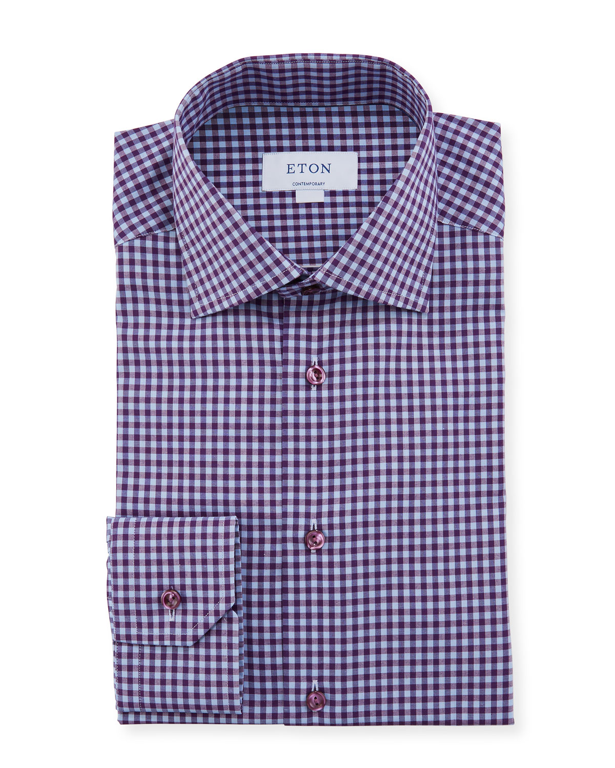 Eton Men's Contemporary Check Dress Shirt With Colored Button