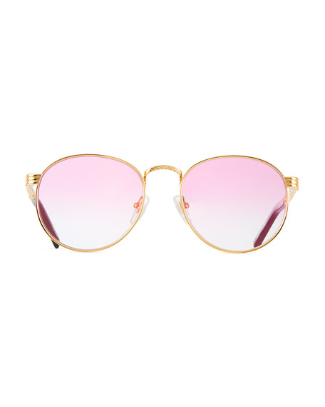 Image 2 of 3: Vintage Frames Company Men's Equestrian Miami Vice Gold-Plated Round Sunglasses
