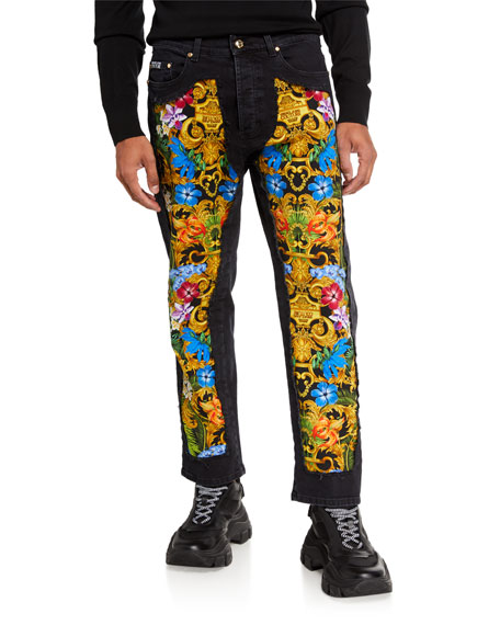 Image 1 of 3: Versace Jeans Couture Men's Tropical Jungle Baroque Cutout Denim Jeans