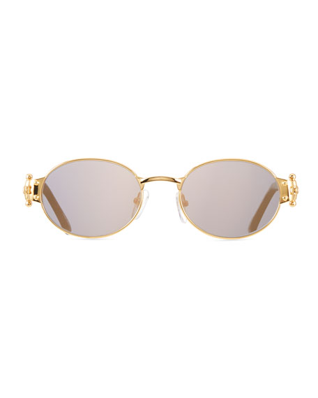 Image 2 of 3: Men's 2000 Masterpiece Gold-Plated Oval Sunglasses