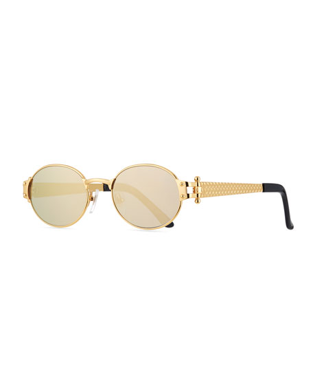 Image 1 of 3: Men's 2000 Masterpiece Gold-Plated Oval Sunglasses