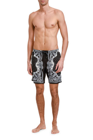 Dolce & Gabbana Men's Bandana-Print Swim Trunks