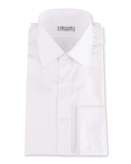 Image 1 of 2: Charvet Men's Basic Solid Point-Collar Dress Shirt with French Cuffs