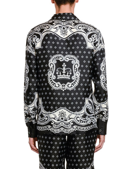 Image 2 of 2: Dolce & Gabbana Men's Bandana Long-Sleeve Silk Shirt
