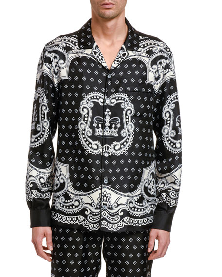 Image 1 of 2: Dolce & Gabbana Men's Bandana Long-Sleeve Silk Shirt