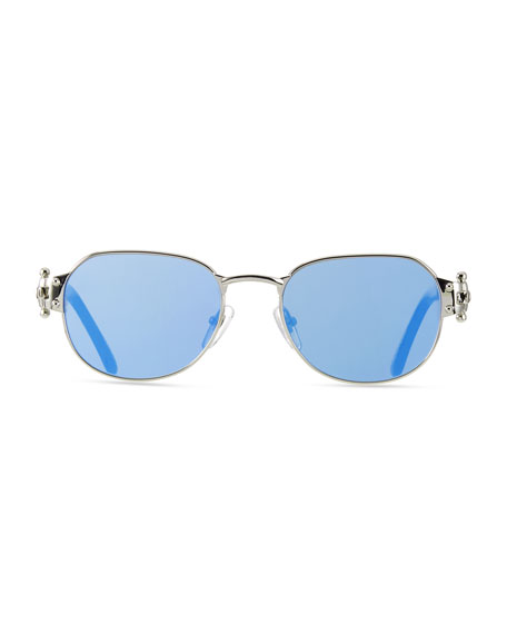 Image 2 of 3: Vintage Frames Company Men's 1999 Masterpiece White Gold-Plated Sunglasses