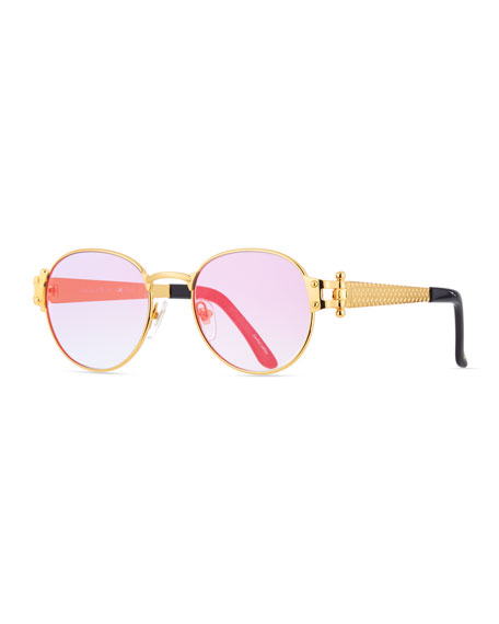 Vintage Frames Company Men's 1998 Masterpiece Gold-Plated Round Sunglasses