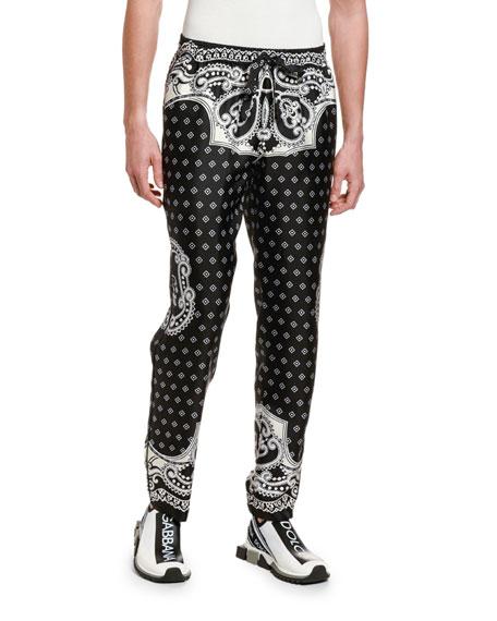 Dolce & Gabbana Men's Bandana Straight-Leg Silk Pants
