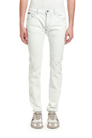 Dolce & Gabbana Men's Distressed Slim-Fit Jeans