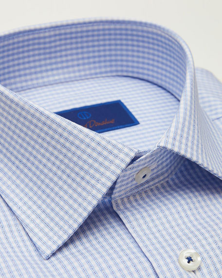 David Donahue Men's Slim-Fit Two-Tone Grid Check Dress Shirt