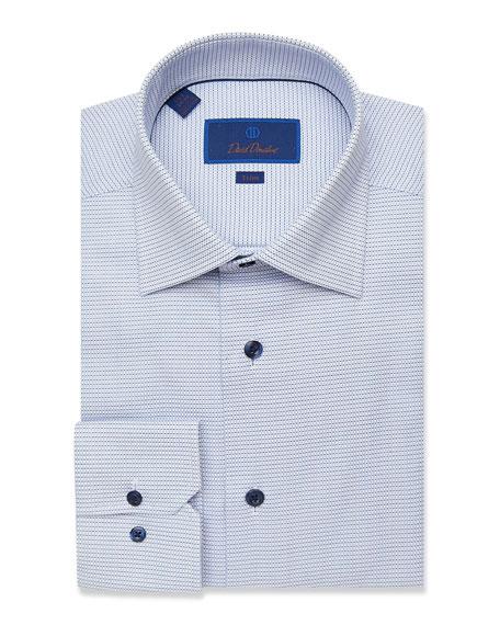 David Donahue Men's Trim-Fit Mini Check Basketweave Dress Shirt