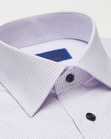 David Donahue Men's Trim-Fit Mini Check Dress Shirt
