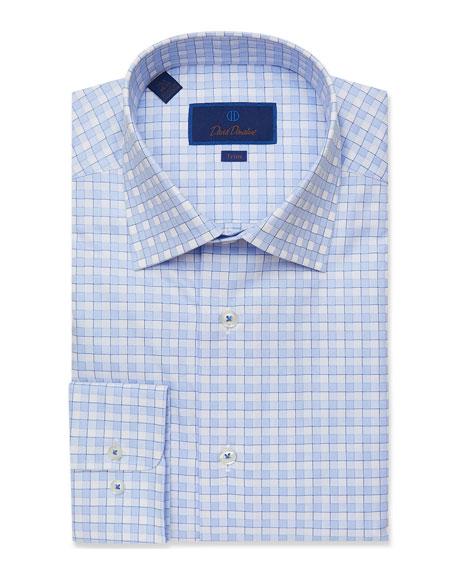 David Donahue Men's Trim-Fit Two-Tone Grid Check Dress Shirt