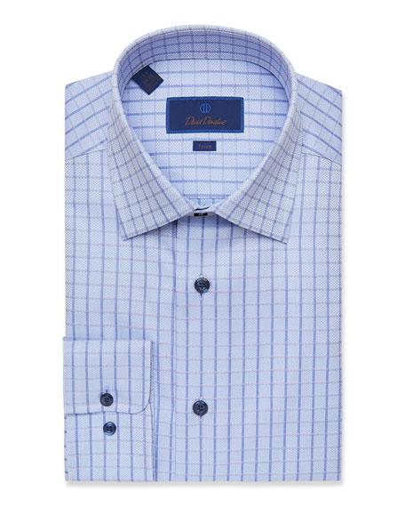 David Donahue Men's Trim-Fit Tonal Check Dress Shirt