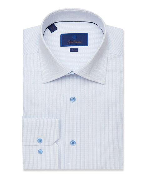 David Donahue Men's Trim-Fit Grid Check Dobby Dress Shirt