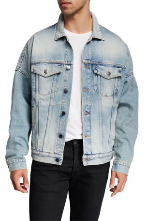 Palm Angels Men's Over Logo Denim Jacket