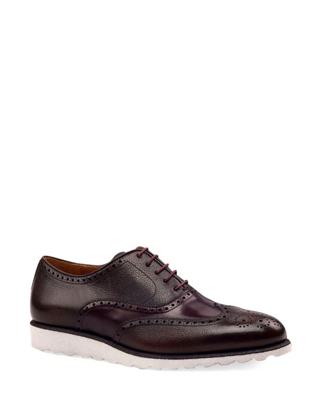 Ike Behar Men's Wing-Tip Leather Platform Oxford Shoes