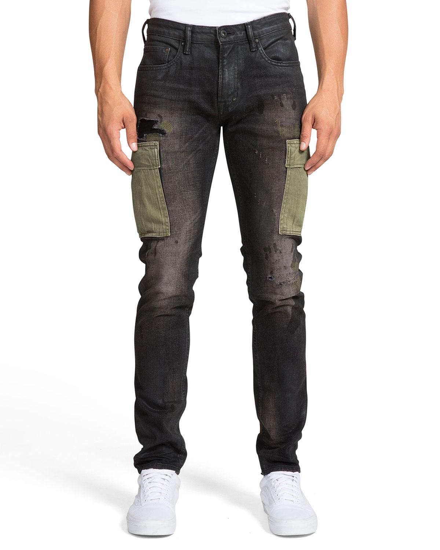 PRPS Men's Windsor Fit Dark-Wash Cargo Jeans