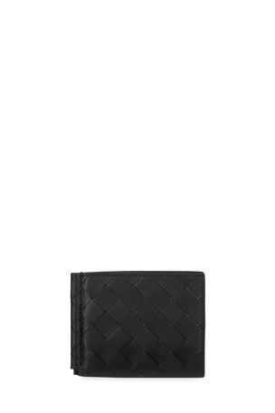 Bottega Veneta Men's Intrecciato Bi-Fold Wallet with Money Clip
