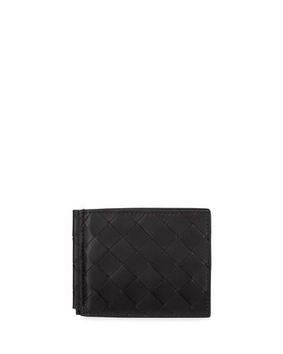 Men's Intrecciato Bi-Fold Wallet with Money Clip
