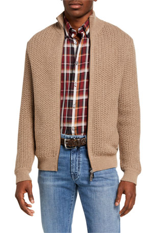 Brioni Men's Chunky Knit Zip-Front Sweater
