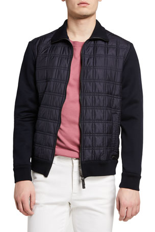 Brioni Men's Quilt Knit Blouson Jacket